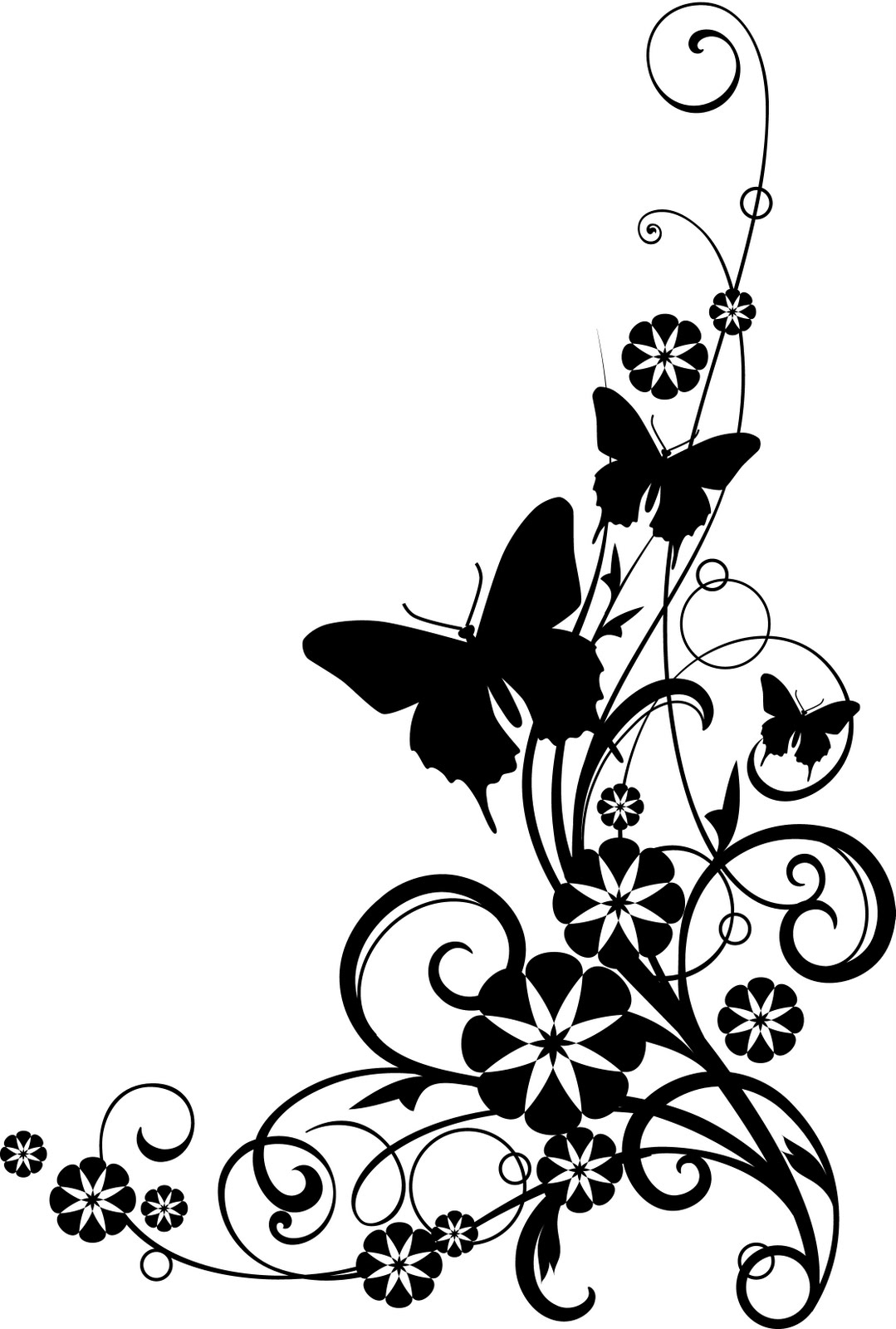 Flower Clip Art Black and White Butterfly