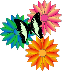 Butterfly And Flowers clip art - vector clip art online, royalty ...