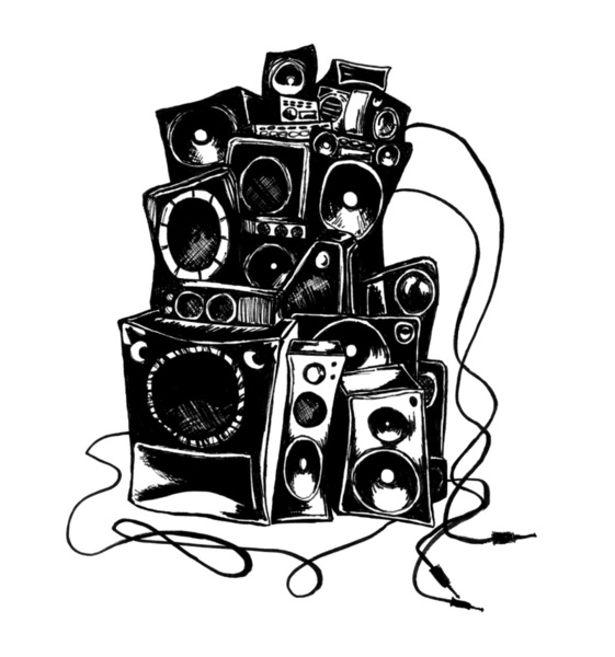 Boombox Drawing - Clip...