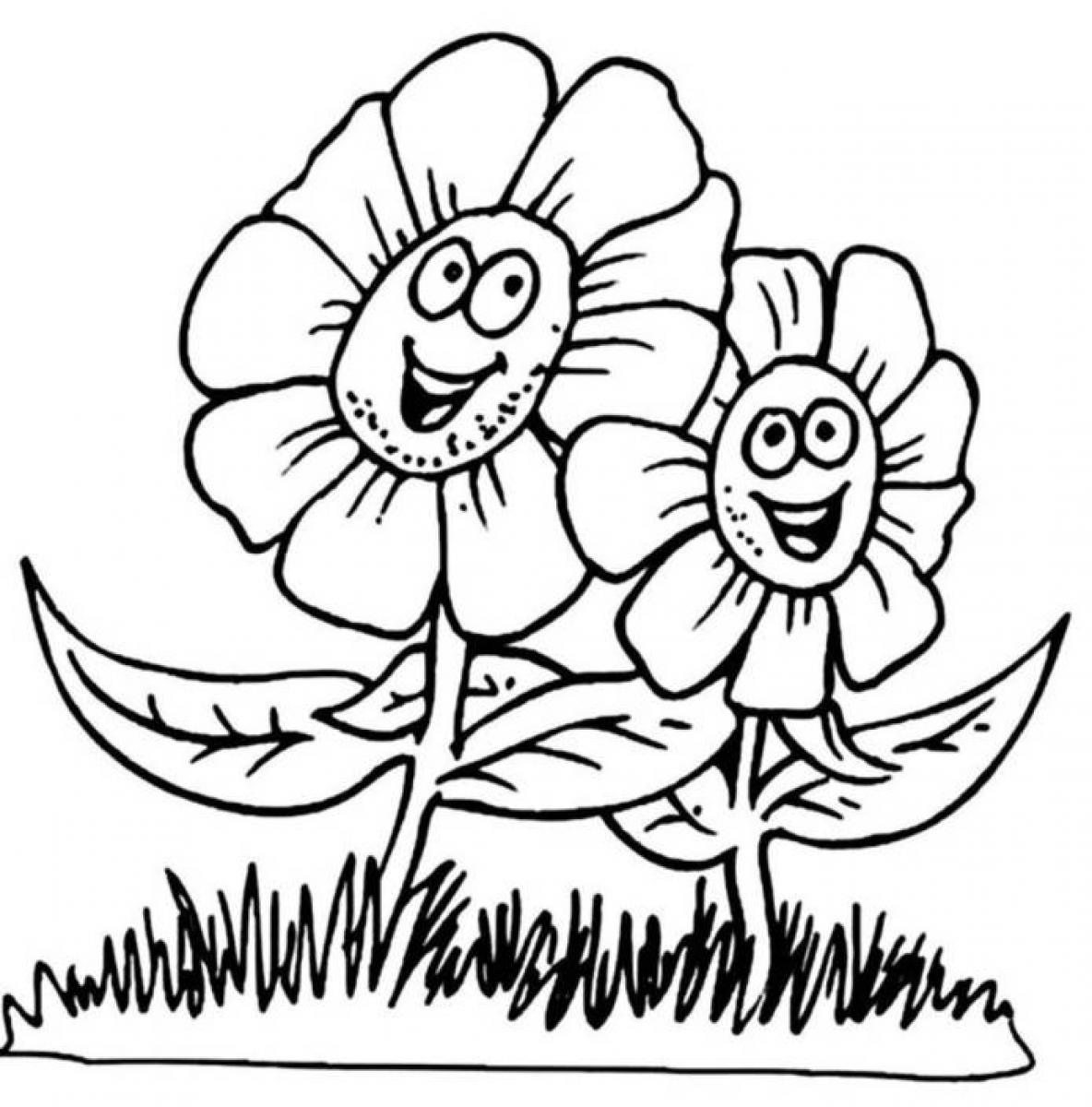Flower coloring pages for kids - Coloring Pages For Big Flowers Atkinson Flowers