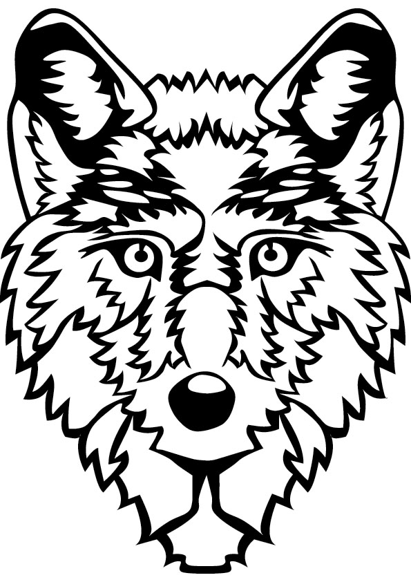 Wolf face coloring - photo#7