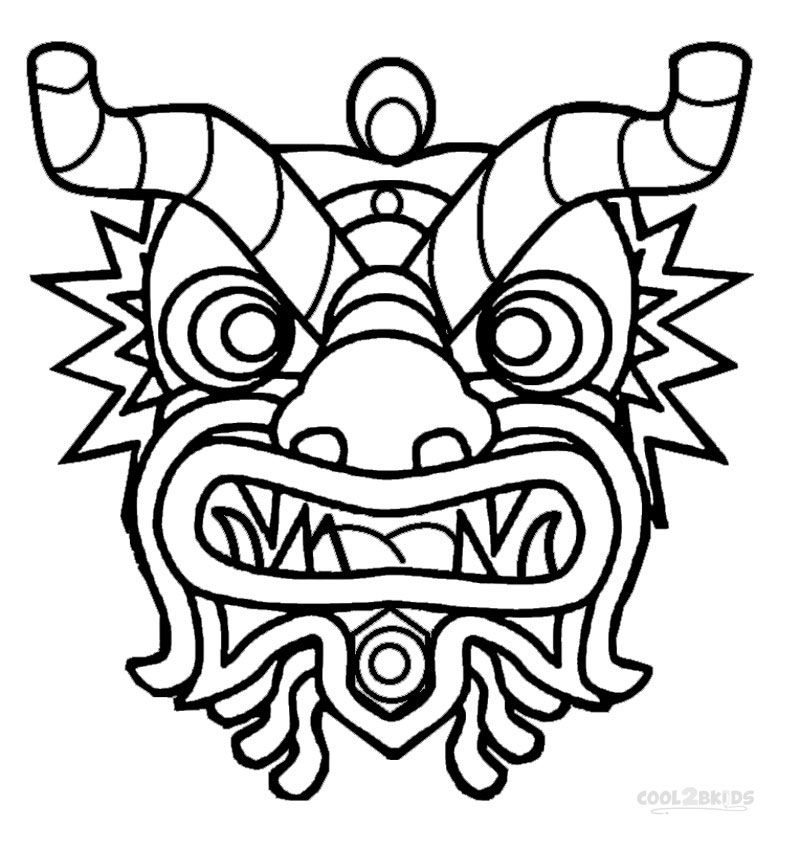 chinese dragon face template - dragon mask template clipart best