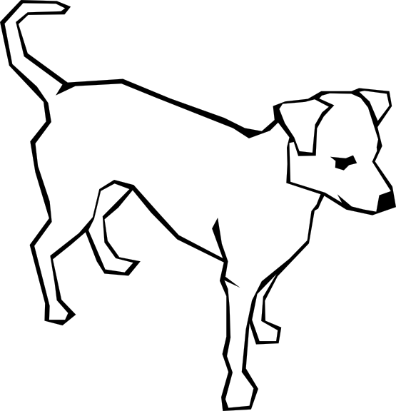Clipart Animal Simple Line Drawing : Dog simple drawing black white line art tatoo