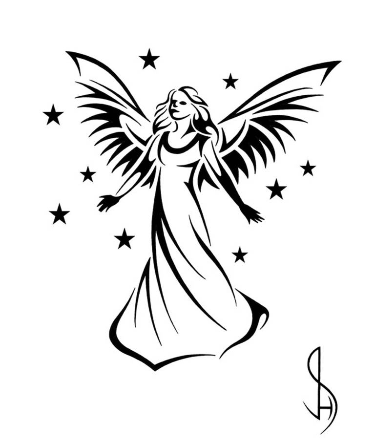 simple angel tattoo sketch clipart best. Black Bedroom Furniture Sets. Home Design Ideas