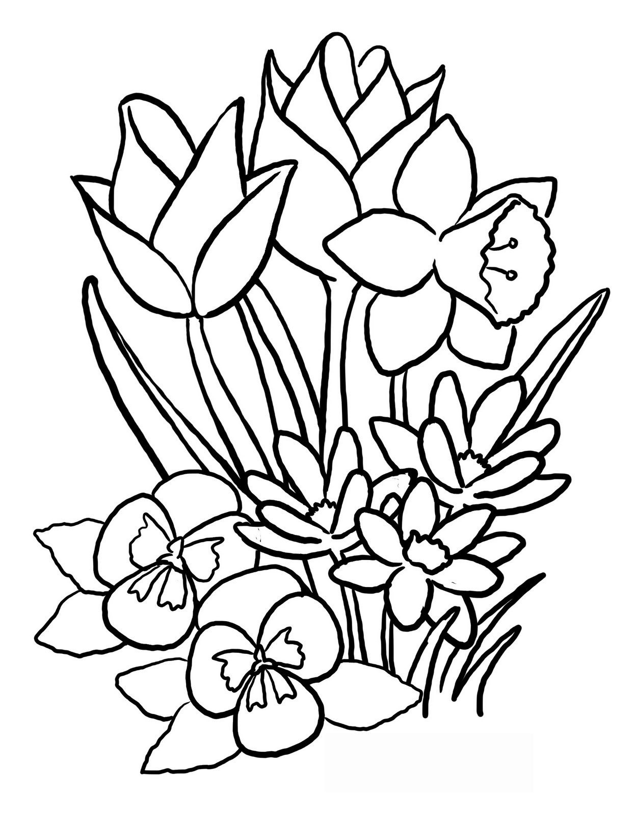 Spring Flowers Drawing ClipArt