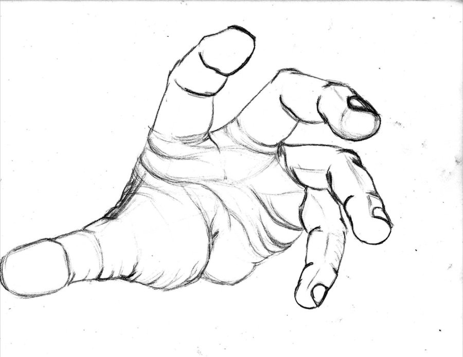 Drawing Lines Hand : Open hand drawing clipart best