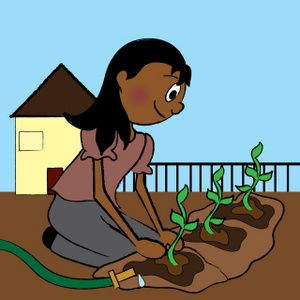 Gardening Clipart Image Ethnic Teenage Girl Planting a