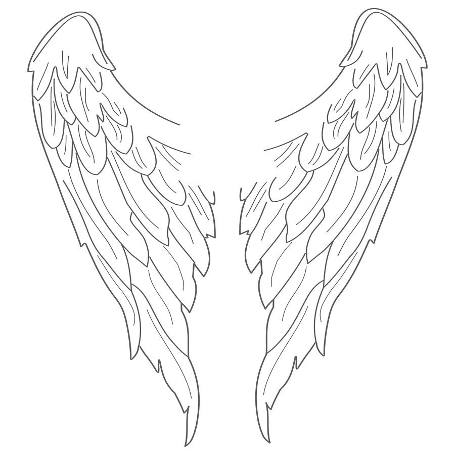Simple angel wings drawing clipart best for Angel wings coloring pages