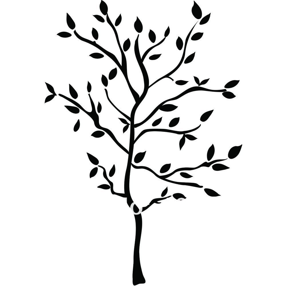 Tree Clip Art Black and White  Vector Oak Tree on White