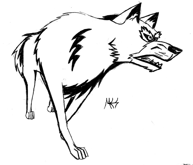 Simple Wolf Lineart : Growling wolf drawing clipart best