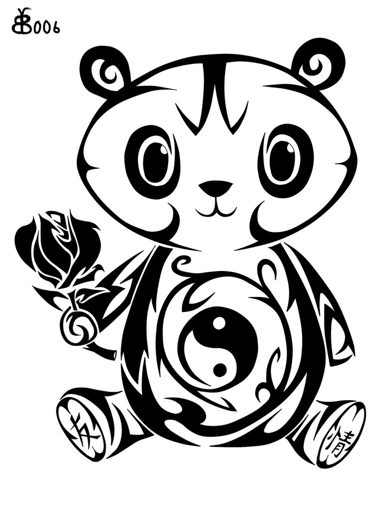 Cute Tribal Panda With Baby Tattoo Design