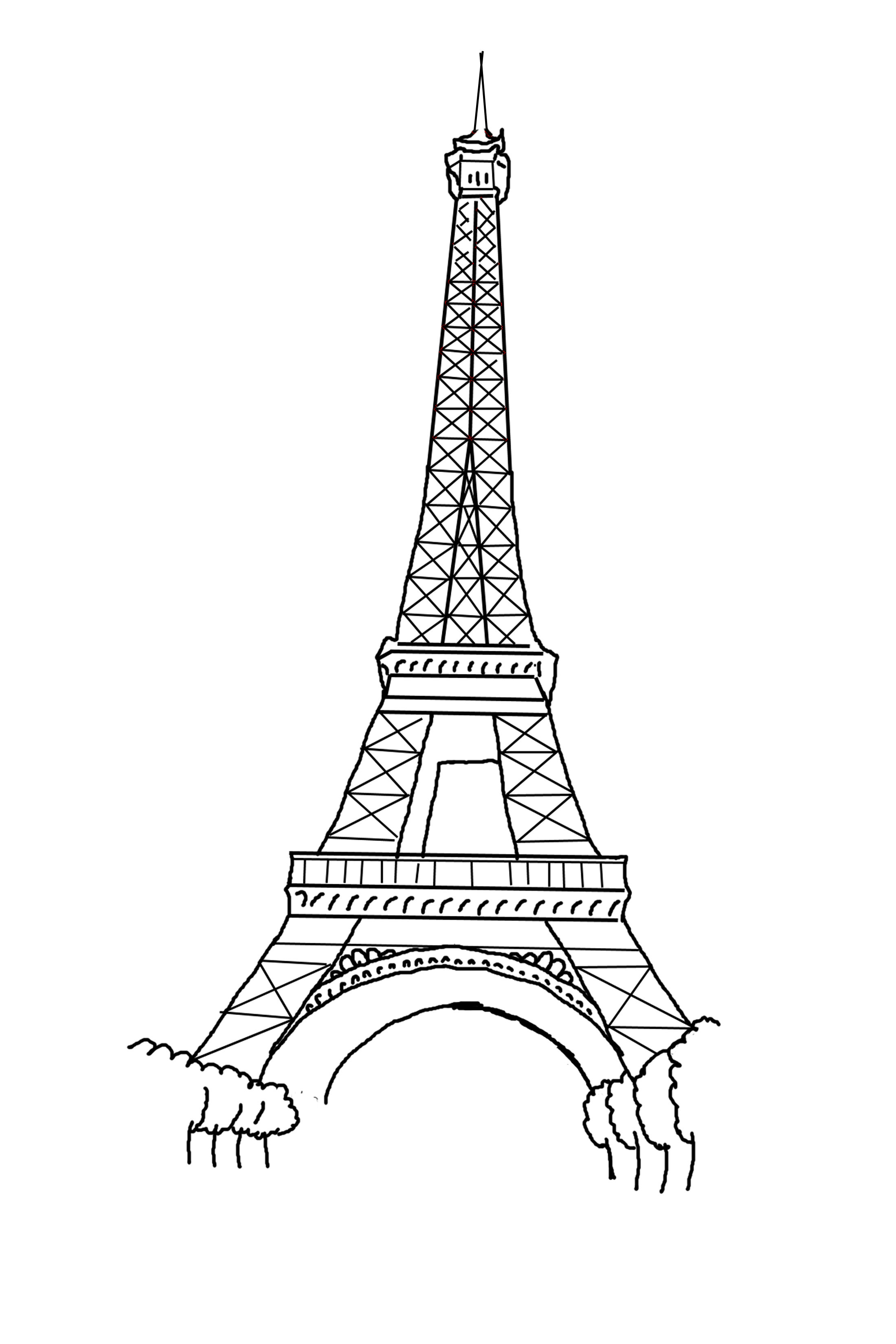 Line Drawing Eiffel Tower : How to draw simple eiffel tower clipart best