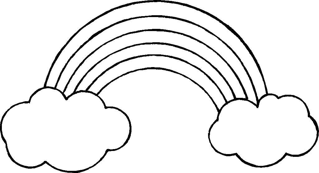 Rainbow clipart black and white clipart best for Rainbow templates to colour