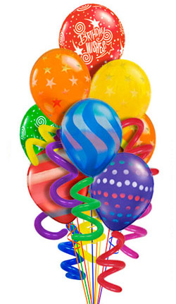 Twisty Birthday Balloon Bouquet (10 Balloons) - Balloon Delivery