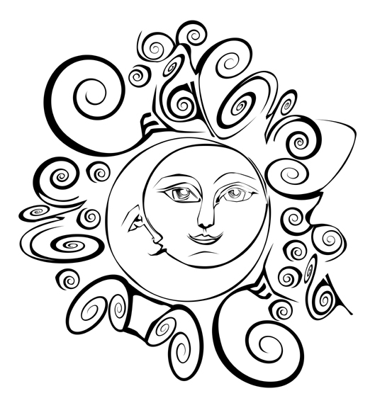 Sun Moon Drawings Sun Line Drawing · Suns Moons