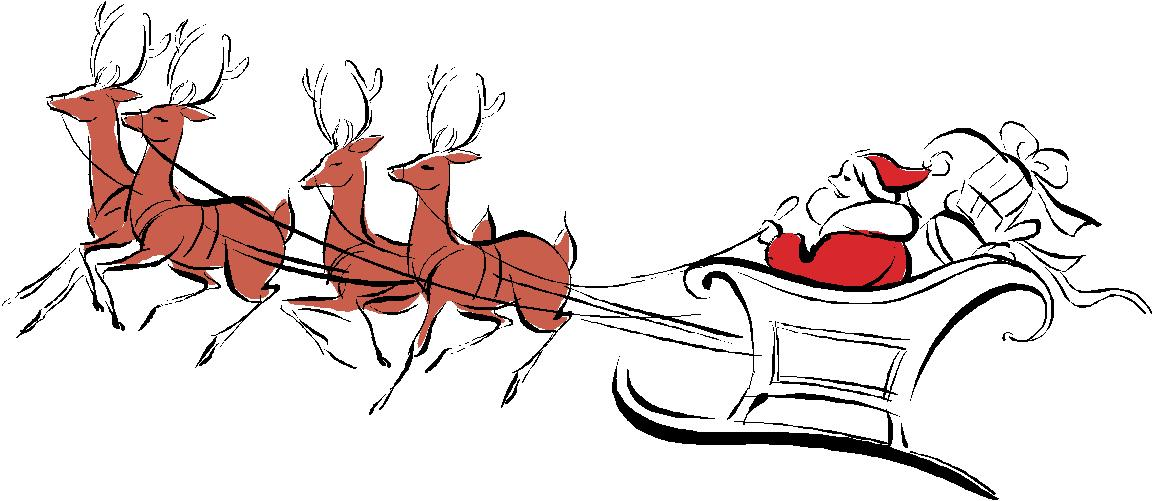 Picture Of Santa And Reindeer - ClipArt Best