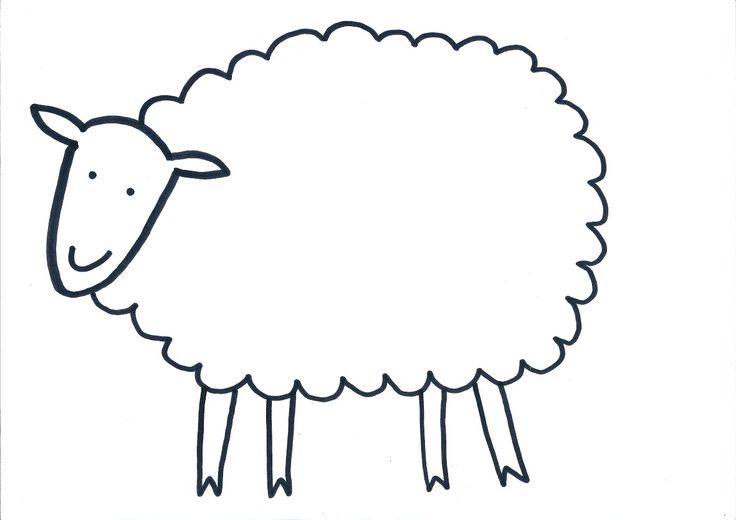 Sheep cut out template pictures to pin on pinterest for Lamb template to print