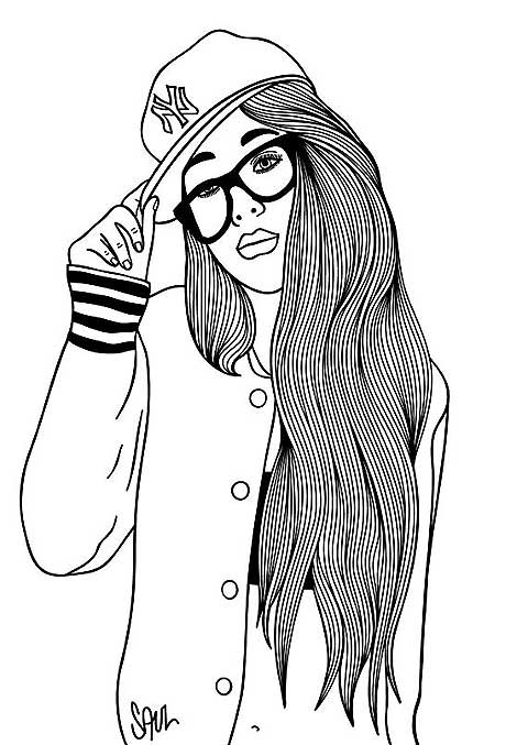 Line Drawing Girl : Line drawings of people clipart best