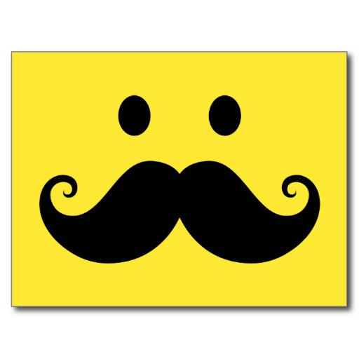 Mustache Smiley (Customizable background color) Postcard
