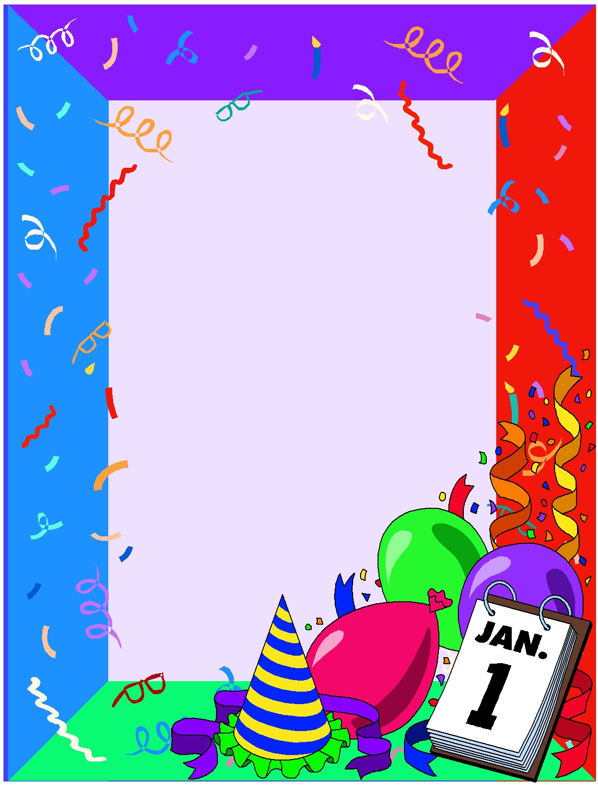 New Years Page Border Box New Years Borders