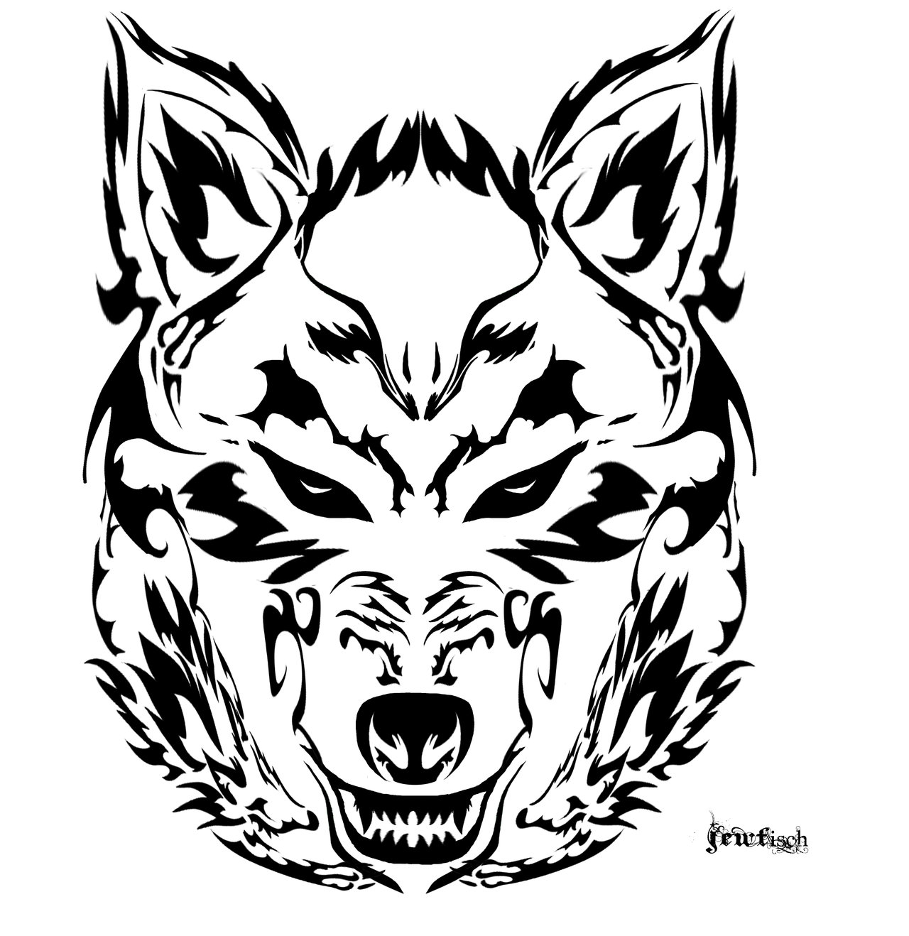 Tribal Wolf Wallpaper: Wolf Face Tribal