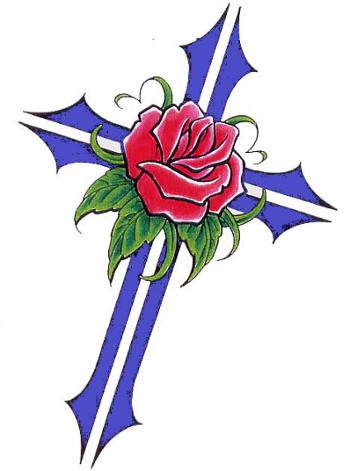 cross and rose drawing clipart best