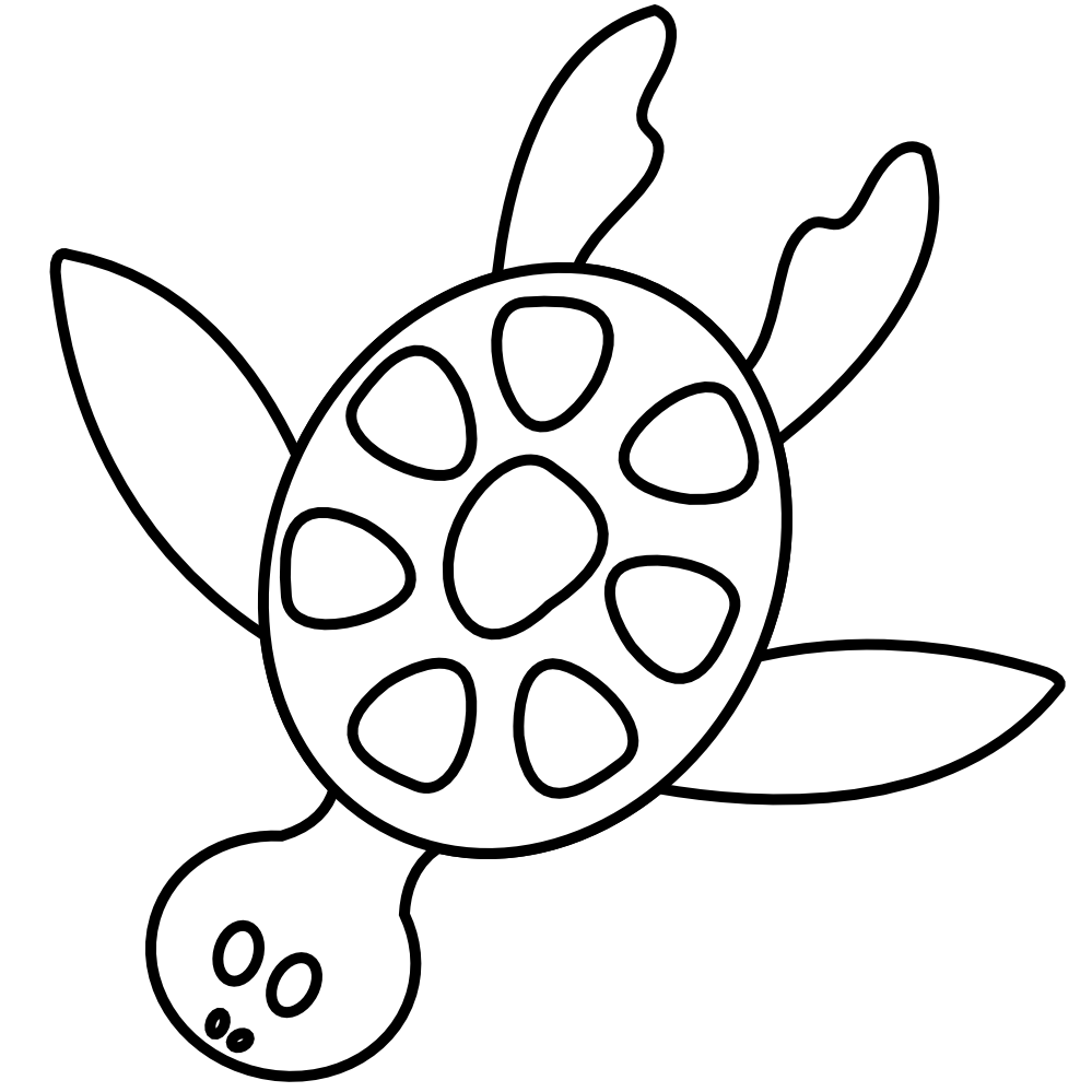 Clip Art: colorful animal sea turtle black white ...