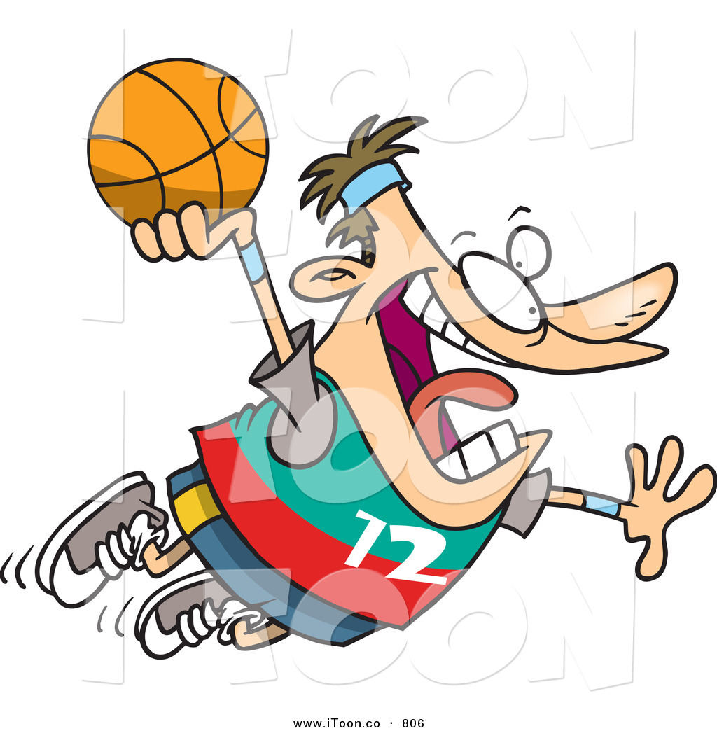 Cartoon Crazy Caucasian Man About to Dunk a Basketball by Ron ...