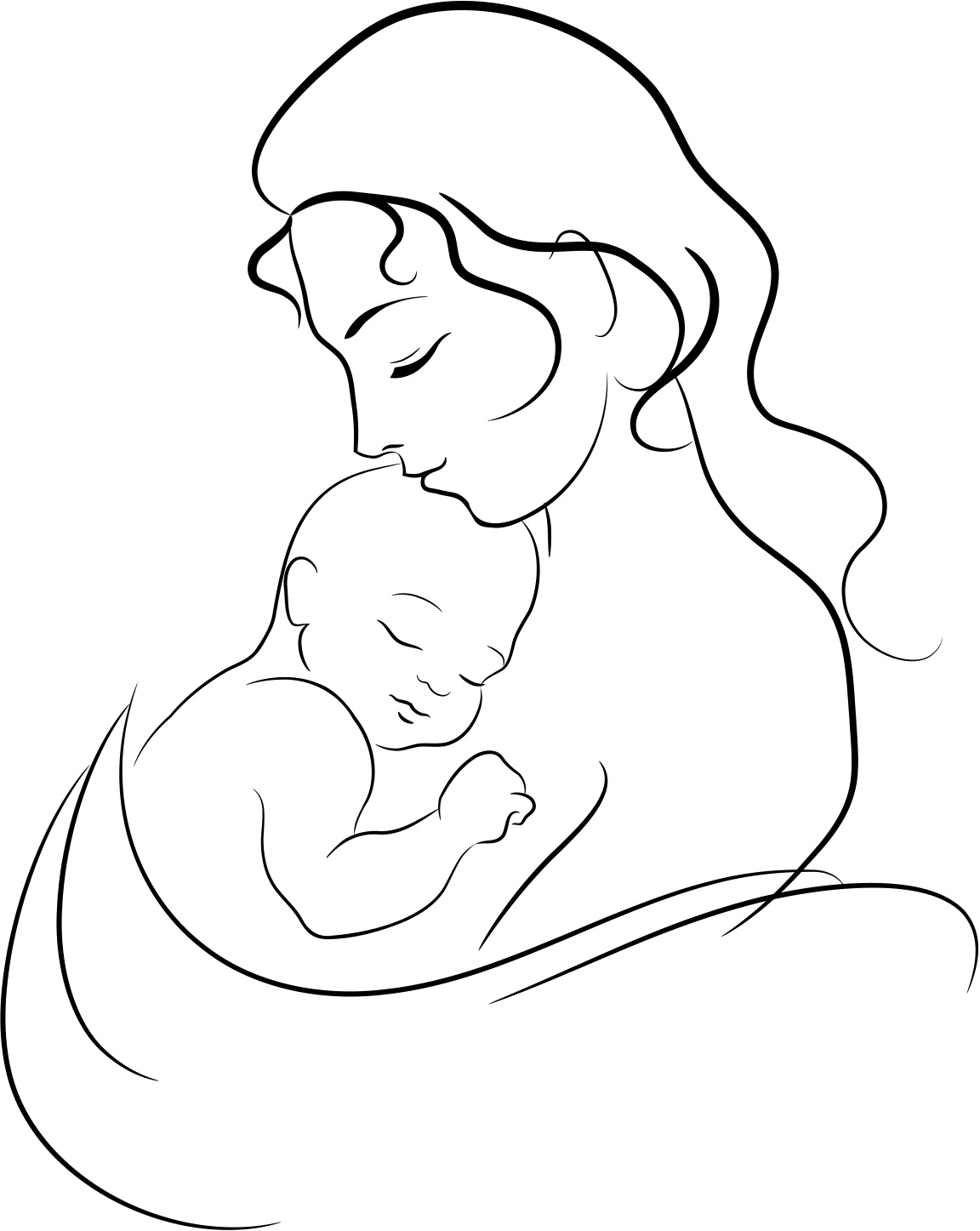 Drawing on mom with baby clipart best for Baby drawing easy