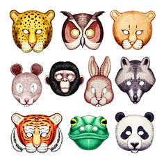 Animals masks templates clipart best for Woodland animal masks template