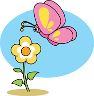 flower and butterfly clipart