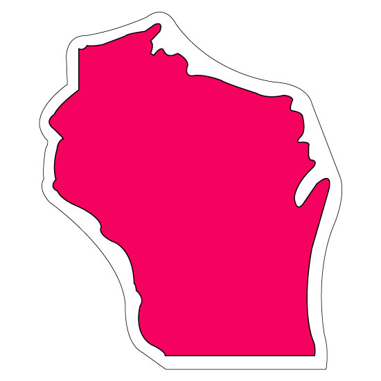 3.5x3 Customized Wisconsin Shaped Magnets 20 Mil - State Shaped ...
