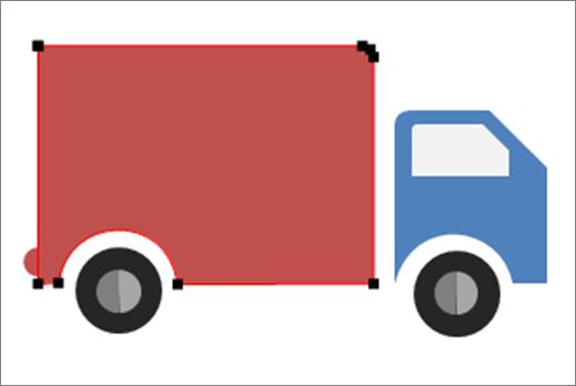 Blue semi truck icon