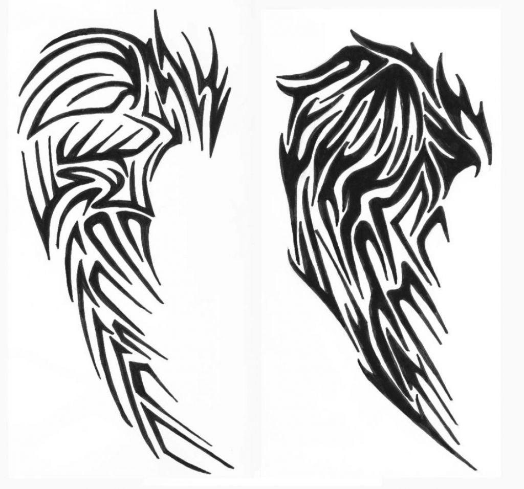 tribal angel wings tattoo clipart best. Black Bedroom Furniture Sets. Home Design Ideas