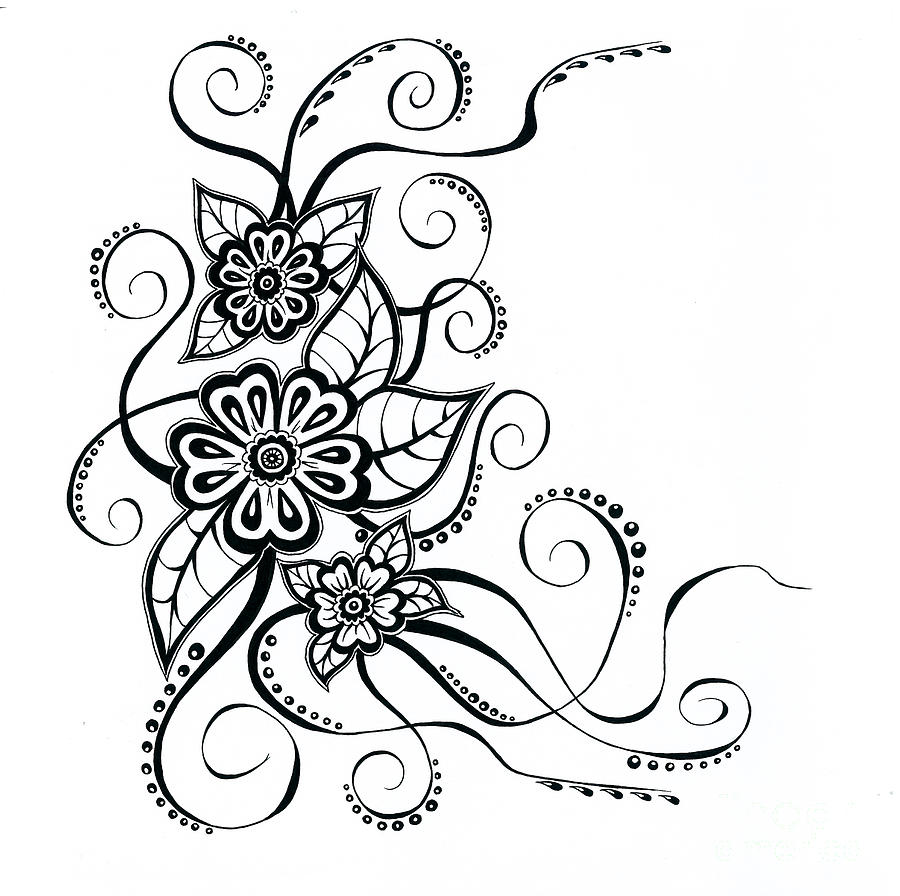 Line Drawing Flower Designs : Floral line drawings clipart best