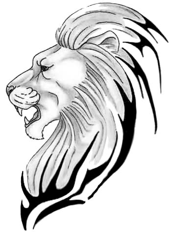 Lion Face Drawing Tribal Lion Head Drawings - C...