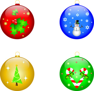 Ornaments Clipart Image - Four Christmas ornaments showing a tree ...