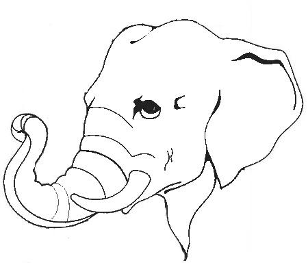 elephant face clipart outline - photo #17