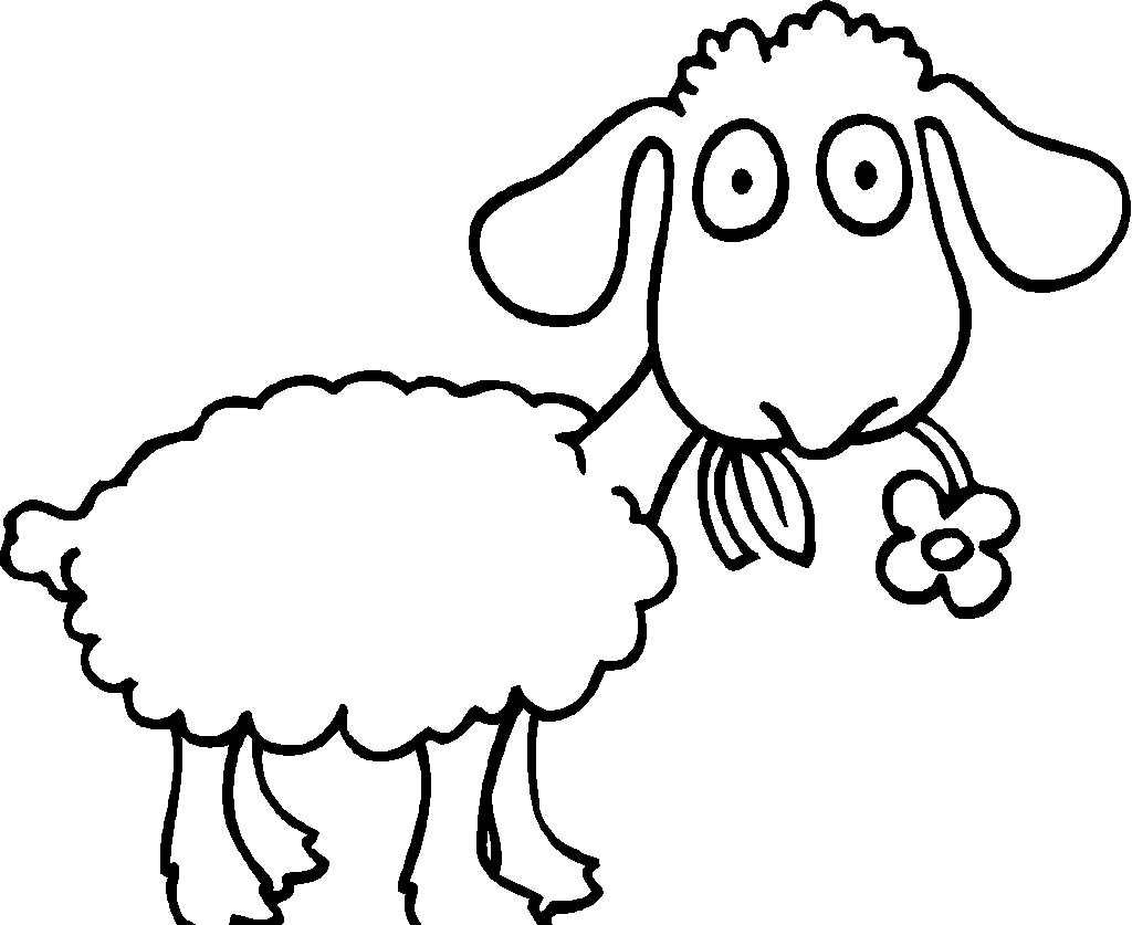 coloring pictures sheep : Coloring Sheet Sheep Sheep With Flower Color Page