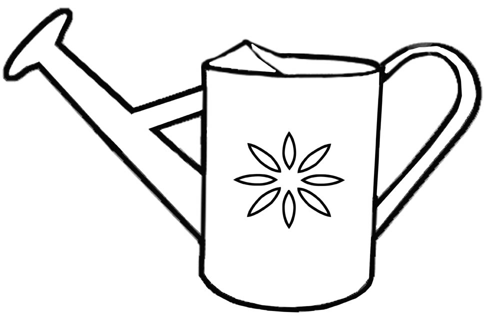 Spring Watering Can Coloring Pages Clipart Best Watering Can Coloring Page