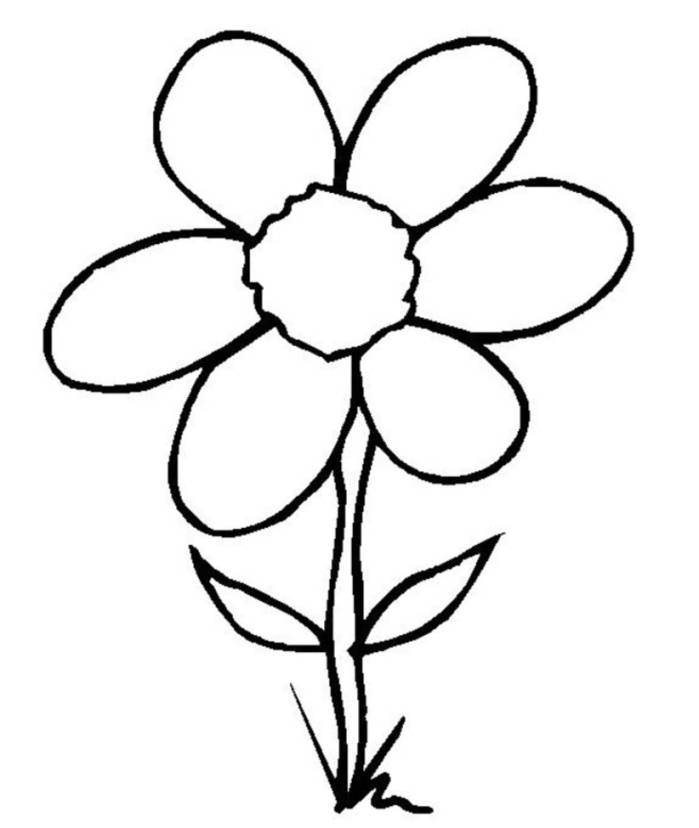 How to draw a simple flower for children clipart best for Easy flower coloring pages