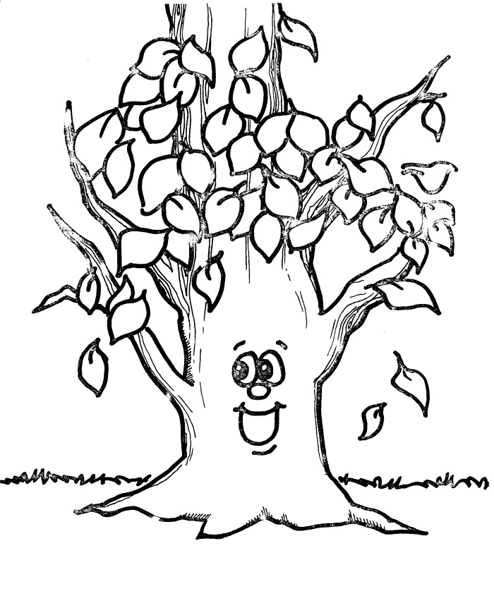 tree coloring pages no leaves