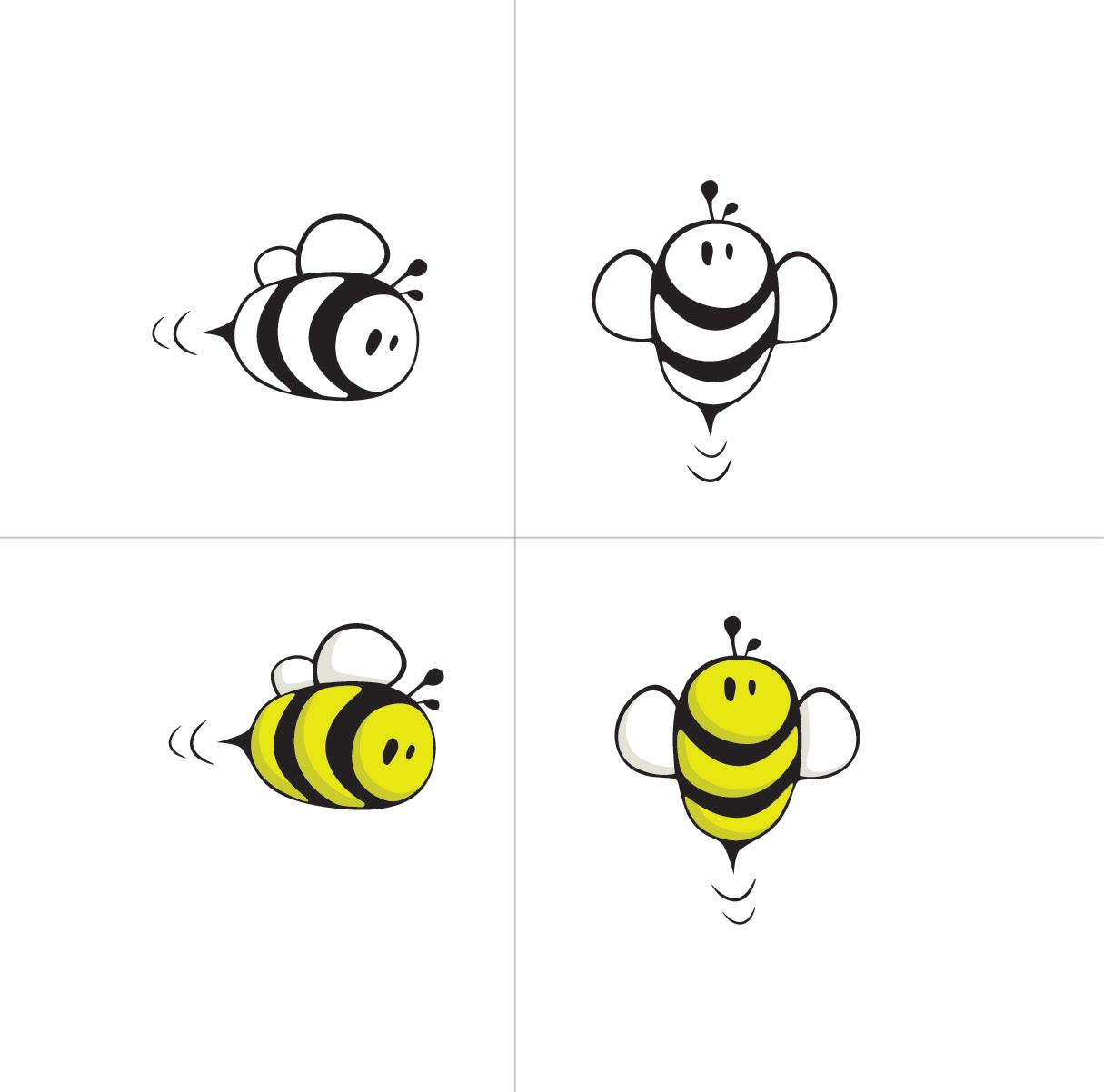 Simple bee drawing - photo#23