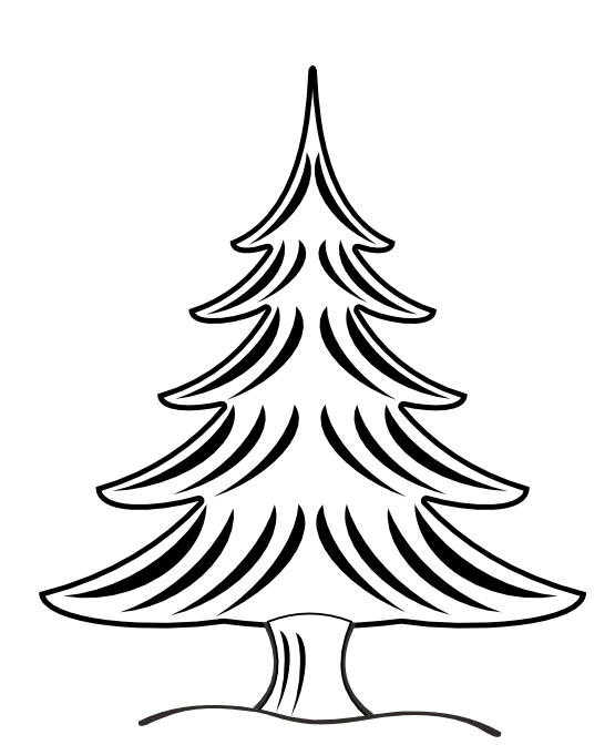 Line Drawing Christmas Tree : Tree line drawings clipart best