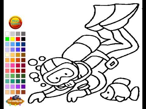 scuba diver coloring page clipart best