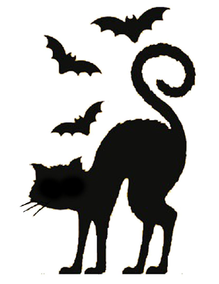 Black cat silhouette template clipart best for Pumpkin carving silhouettes
