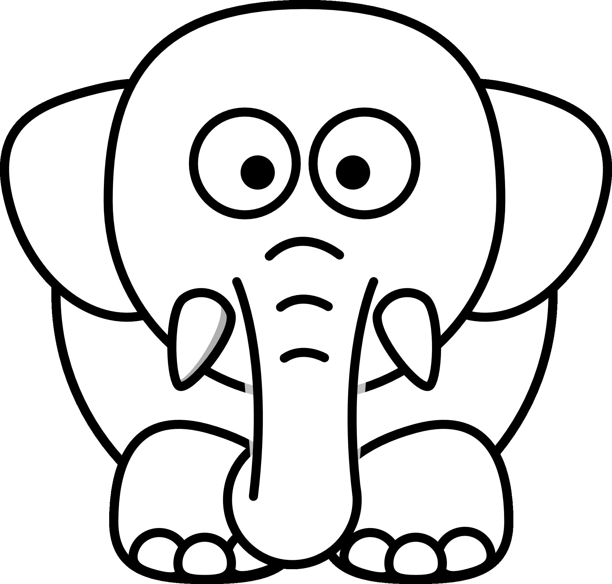 Cartoon elephant black and white