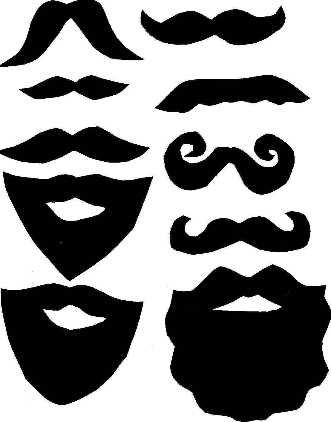 mustache print out template - beard template printable clipart best