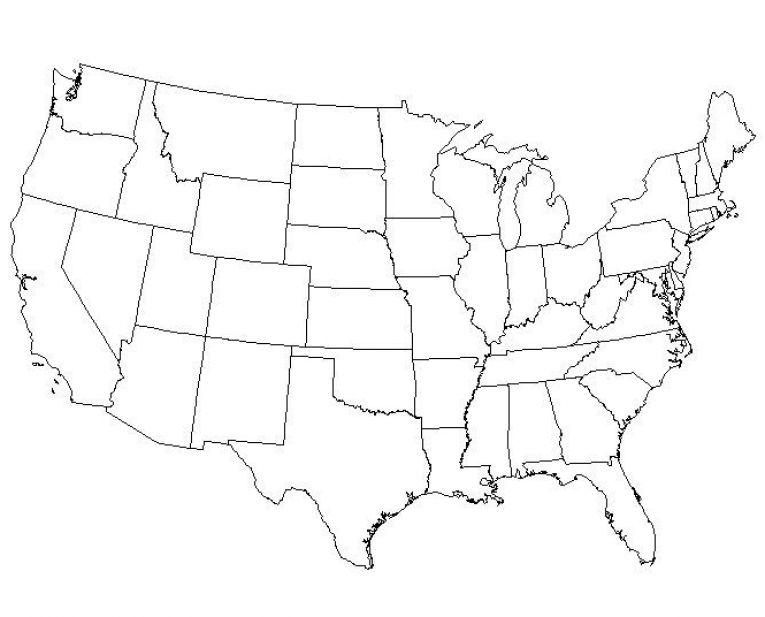 Big Blank Map Of Usa