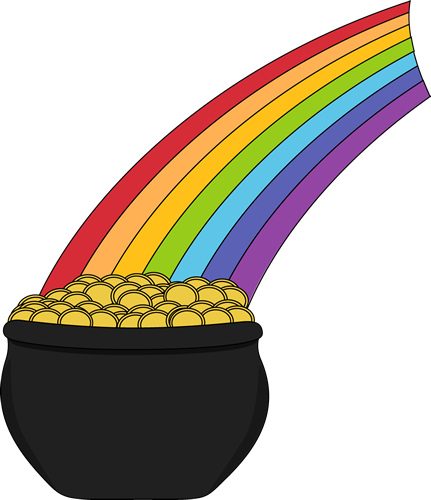 rainbow with a pot of gold clipart best Clip Art Pot of Gold at the End of the Rainbow rainbow pot of gold clipart free